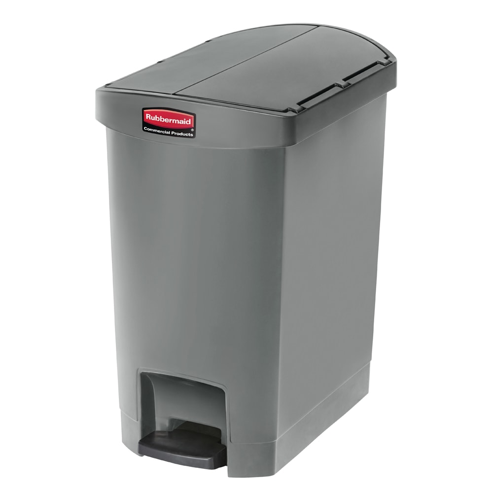 "Rubbermaid 1883601 8 gal Rectangle Plastic Step Trash Can, 19.55""L x 12.27""W x 22.27""H, Gray"