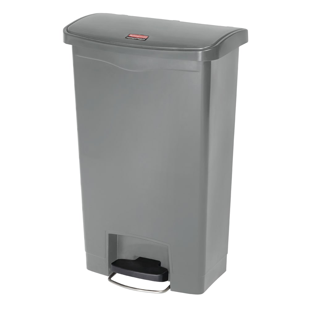 "Rubbermaid 1883602 13 gal Rectangle Plastic Step Trash Can, 17.97""L x 11.48""W x 28.3""H, Gray"