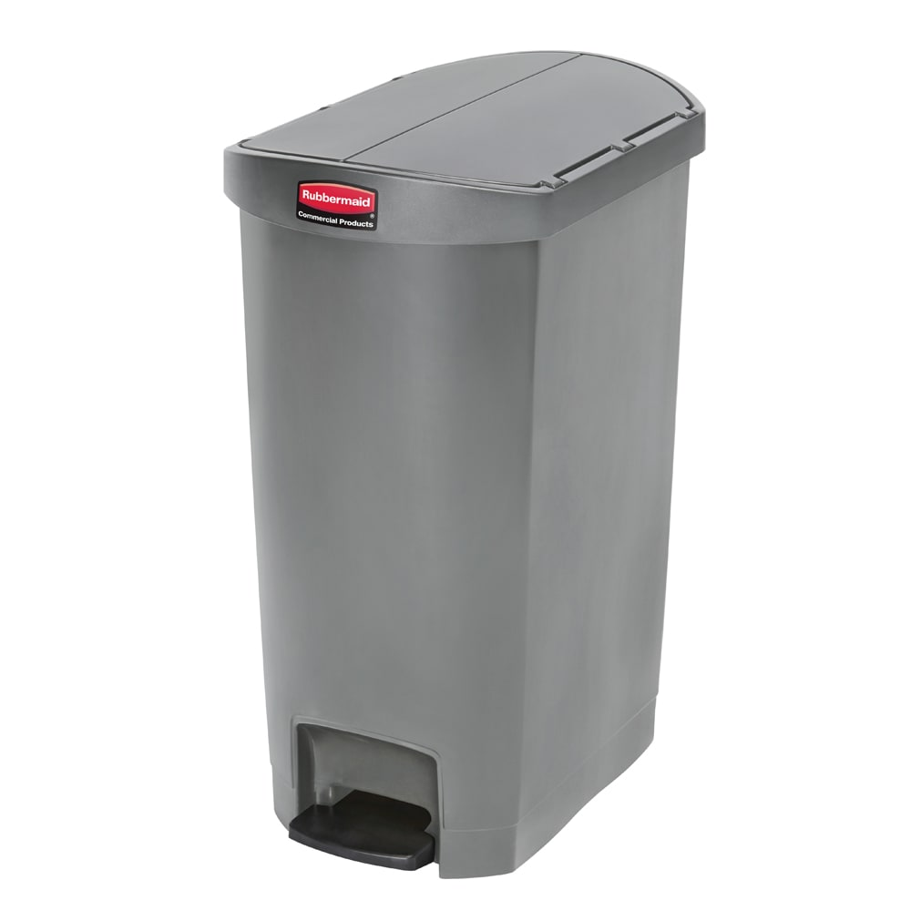"Rubbermaid 1883603 13 gal Rectangle Plastic Step Trash Can, 20.75""L x 13.5""W x 28.38""H, Gray"