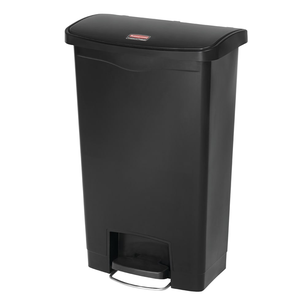 "Rubbermaid 1883611 13 gal Rectangle Plastic Step Trash Can, 17.97""L x 11.48""W x 28.3""H, Black"