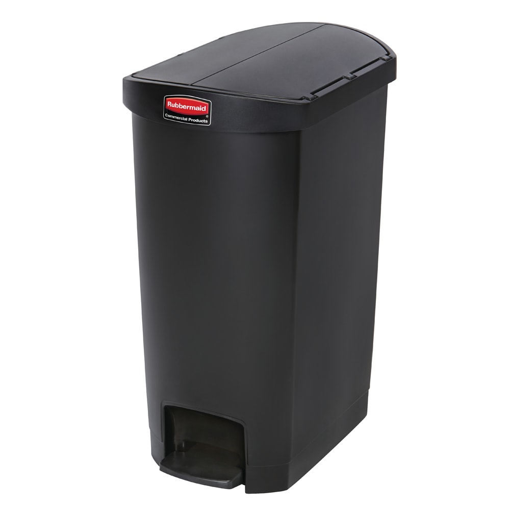 "Rubbermaid 1883612 13 gal Rectangle Plastic Step Trash Can, 20.75""L x 13.5""W x 28.38""H, Black"