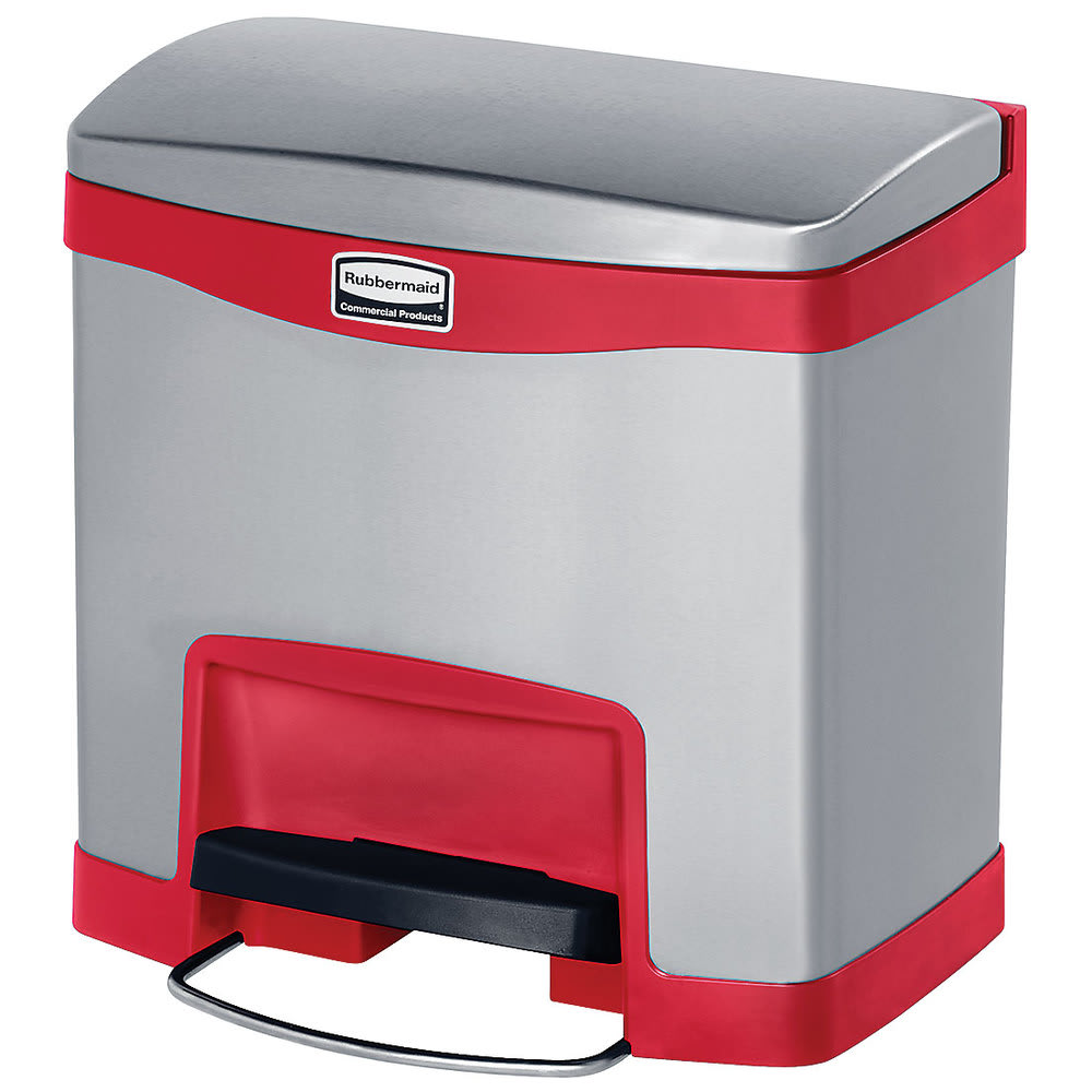 "Rubbermaid 1901983 4-gal Rectangle Metal Step Trash Can, 15.58""L x 11.91""W x 15.73""H, Red"