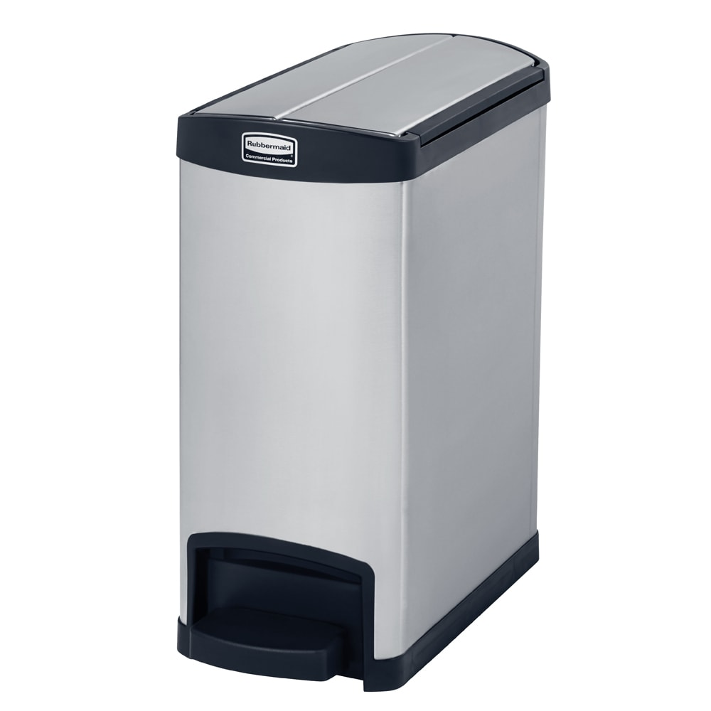 "Rubbermaid 1901986 8-gal Rectangle Metal Step Trash Can, 21.63""L x 10.11""W x 23.14""H, Black"