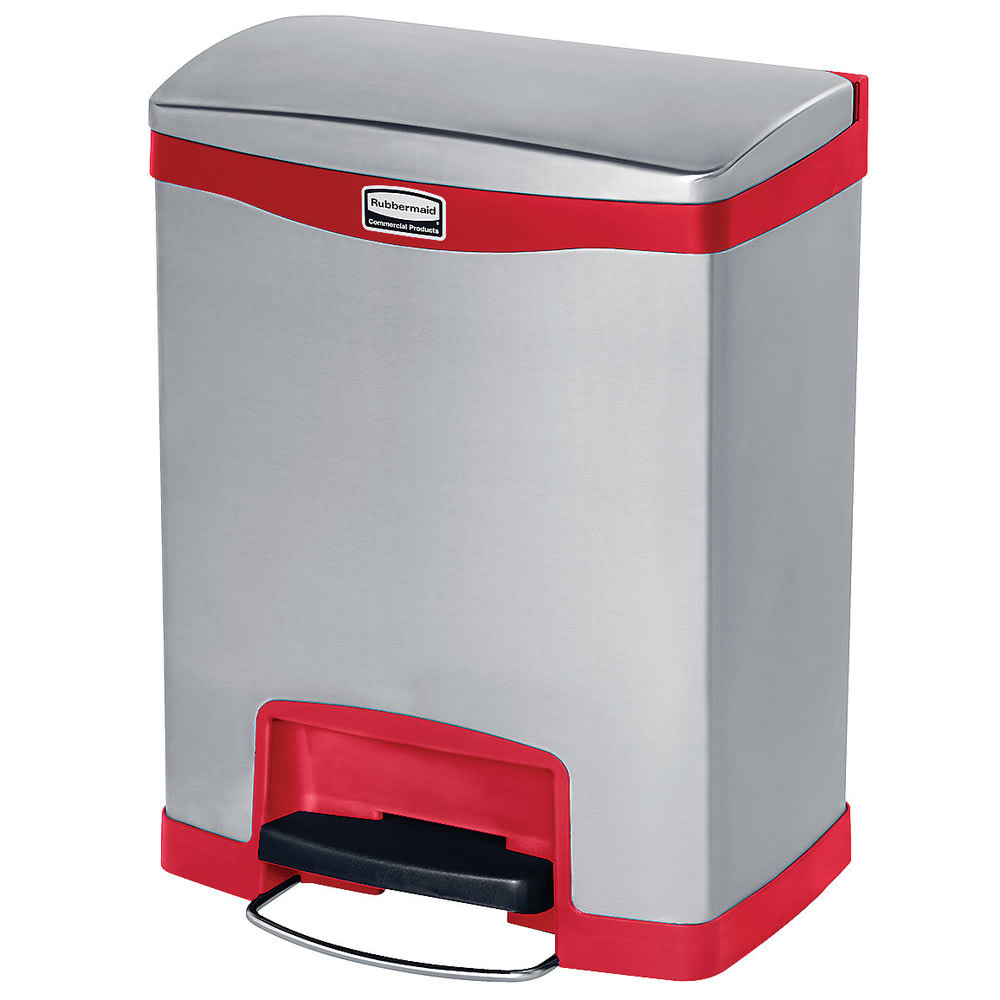 """Rubbermaid 1901988 8-gal Rectangle Metal Step Trash Can, 16.83""""W x 12.83""""D x 21.13""""H, Red"""