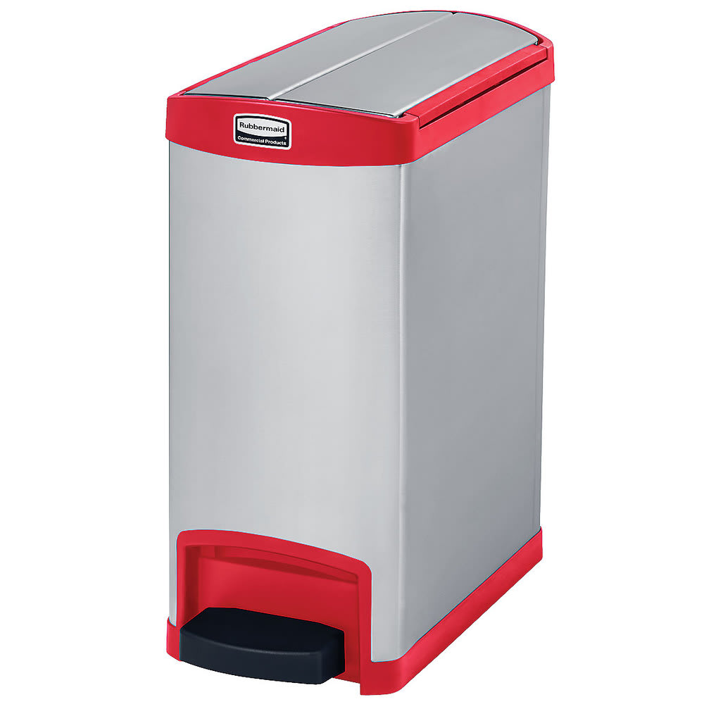 "Rubbermaid 1901989 8-gal Rectangle Metal Step Trash Can, 21.63""L x 10.11""W x 23.14""H, Red"