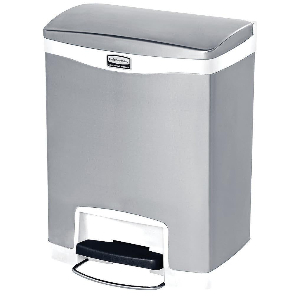 "Rubbermaid 1901990 8-gal Rectangle Metal Step Trash Can, 16.83""W x 12.83""D x 21.13""H, White"