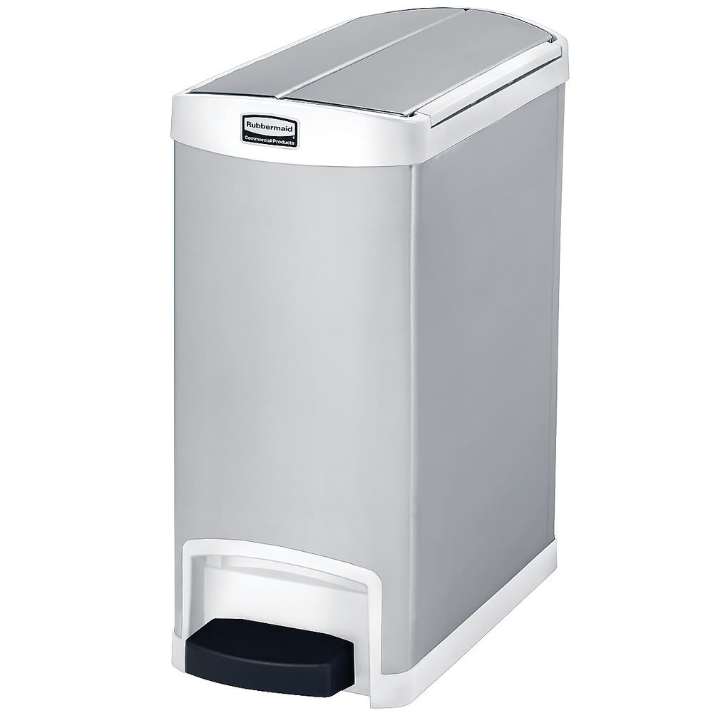 "Rubbermaid 1901991 8-gal Rectangle Metal Step Trash Can, 21.63""L x 10.11""W x 23.14""H, White"