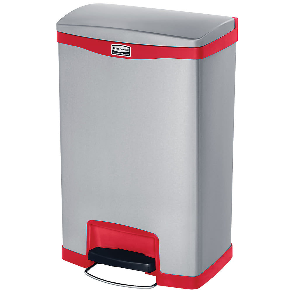 """Rubbermaid 1901995 13-gal Rectangle Metal Step Trash Can, 18.11""""L x 13.7""""W x 28.66""""H, Red"""