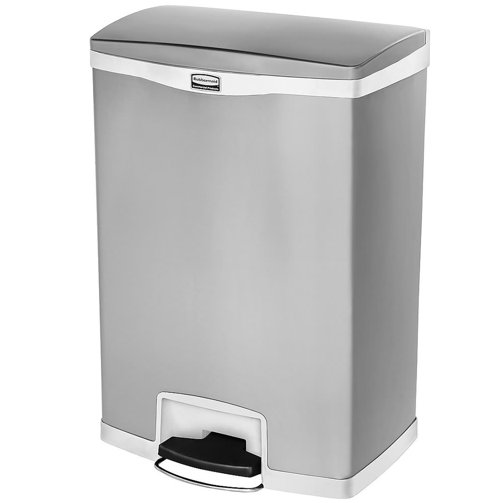 "Rubbermaid 1902004 4-gal Rectangle Metal Step Trash Can,  21.8""L x 16.23""W x 31.83""H, White"