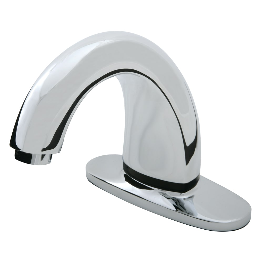 "Rubbermaid 1903283 Deck Mount Auto Faucet - 4"" Centers, Touch Free, Polished Chrome"