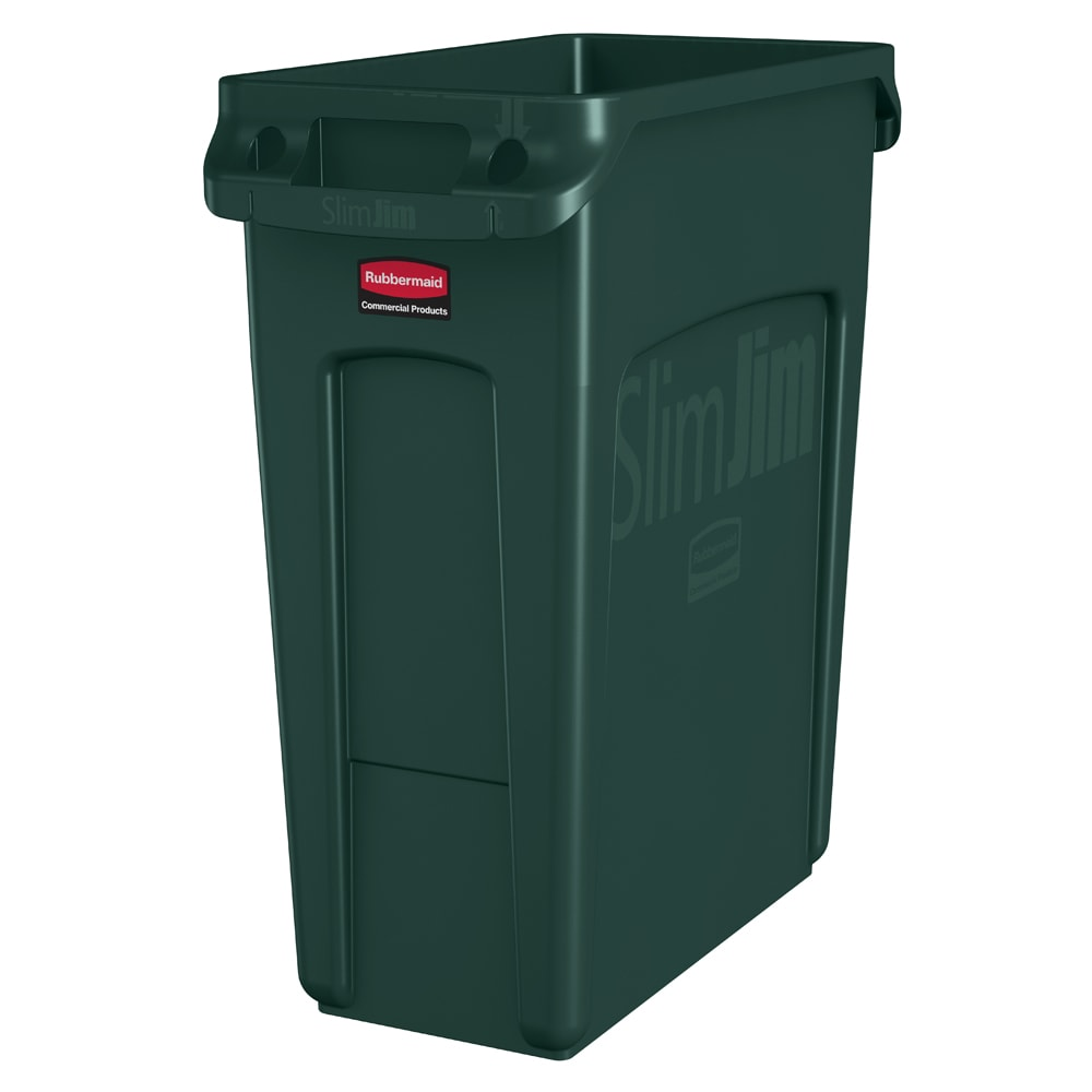 "Rubbermaid 1955960 16 gal Rectangle Slim Trash Can, 22""L x 11""W x 25""H, Green"