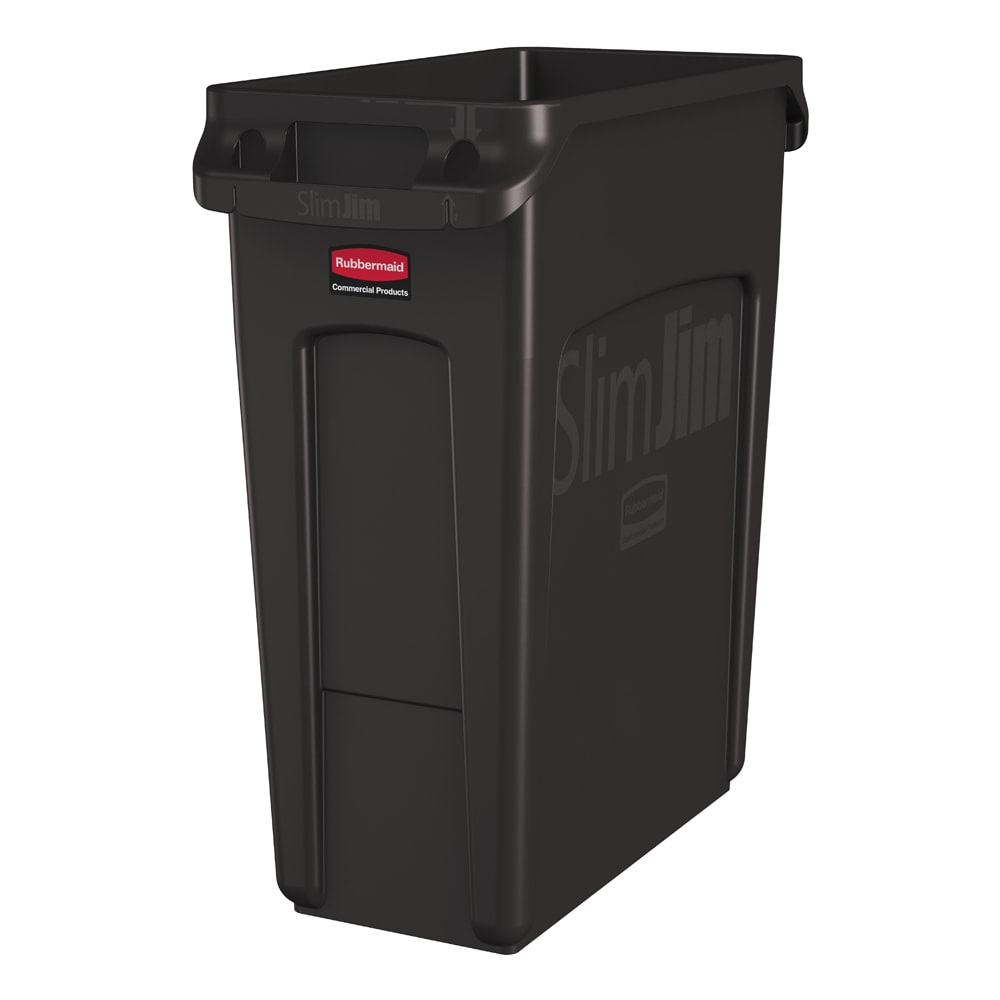 "Rubbermaid 1956181 16-gal Rectangle Slim Trash Can, 22""L x 11""W x 25""H, Brown"
