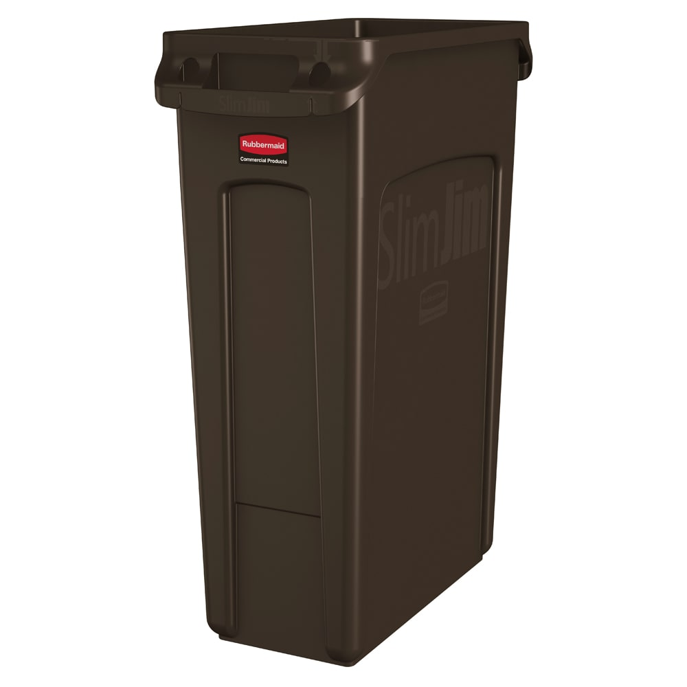 "Rubbermaid 1956187 23-gal Rectangle Slim Trash Can, 22""L x 11""W x 30""H, Brown"