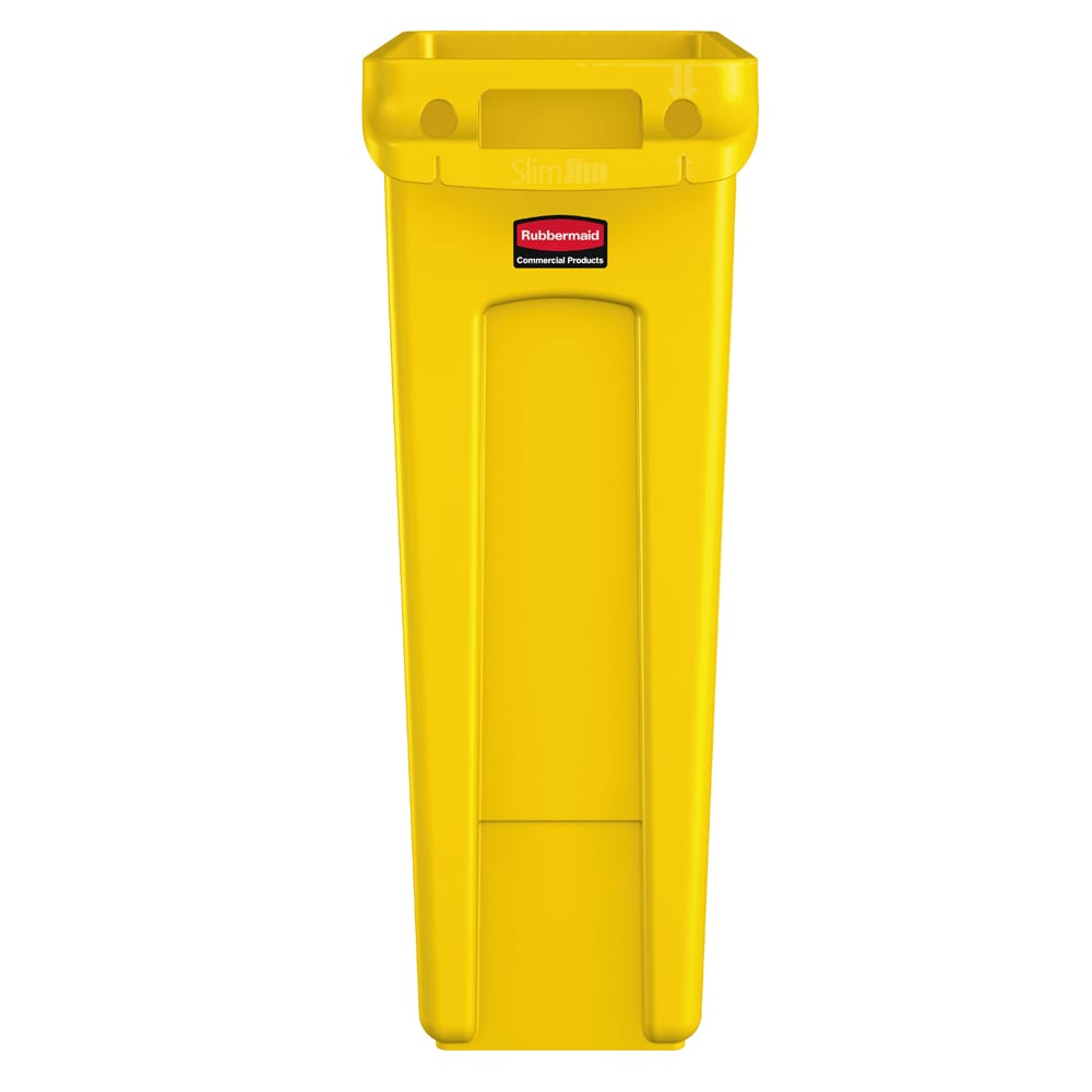 "Rubbermaid 1956188 16-gal Rectangle Slim Trash Can, 22""L x 11""W x 30""H, Yellow"