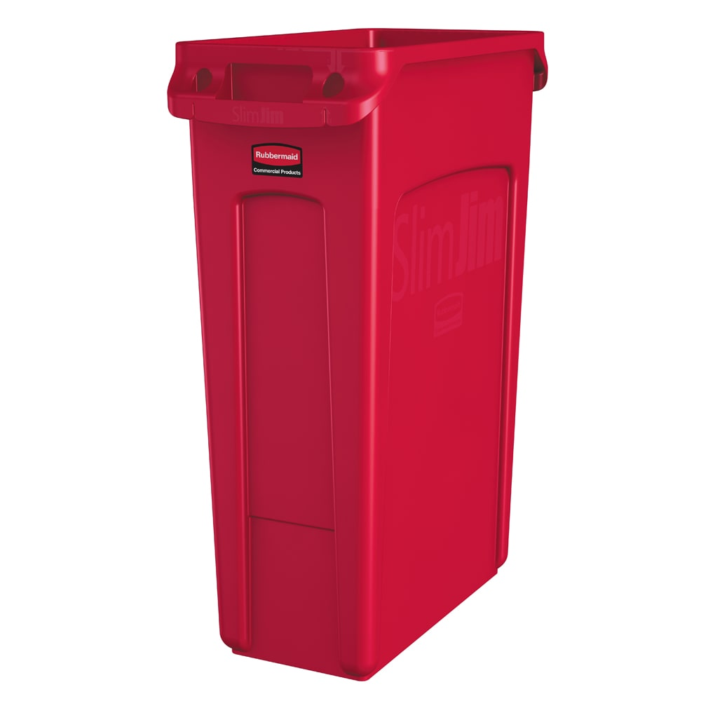 """Rubbermaid 1956189 16 gal Rectangle Slim Trash Can, 22""""L x 11""""W x 30""""H, Red"""