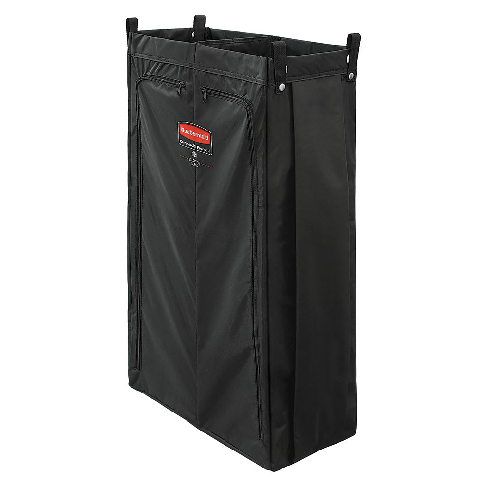 Rubbermaid 1966912 25-gal Divided Fabric Bag w/ Double Front Zipper for Housekeeping Cart, Black