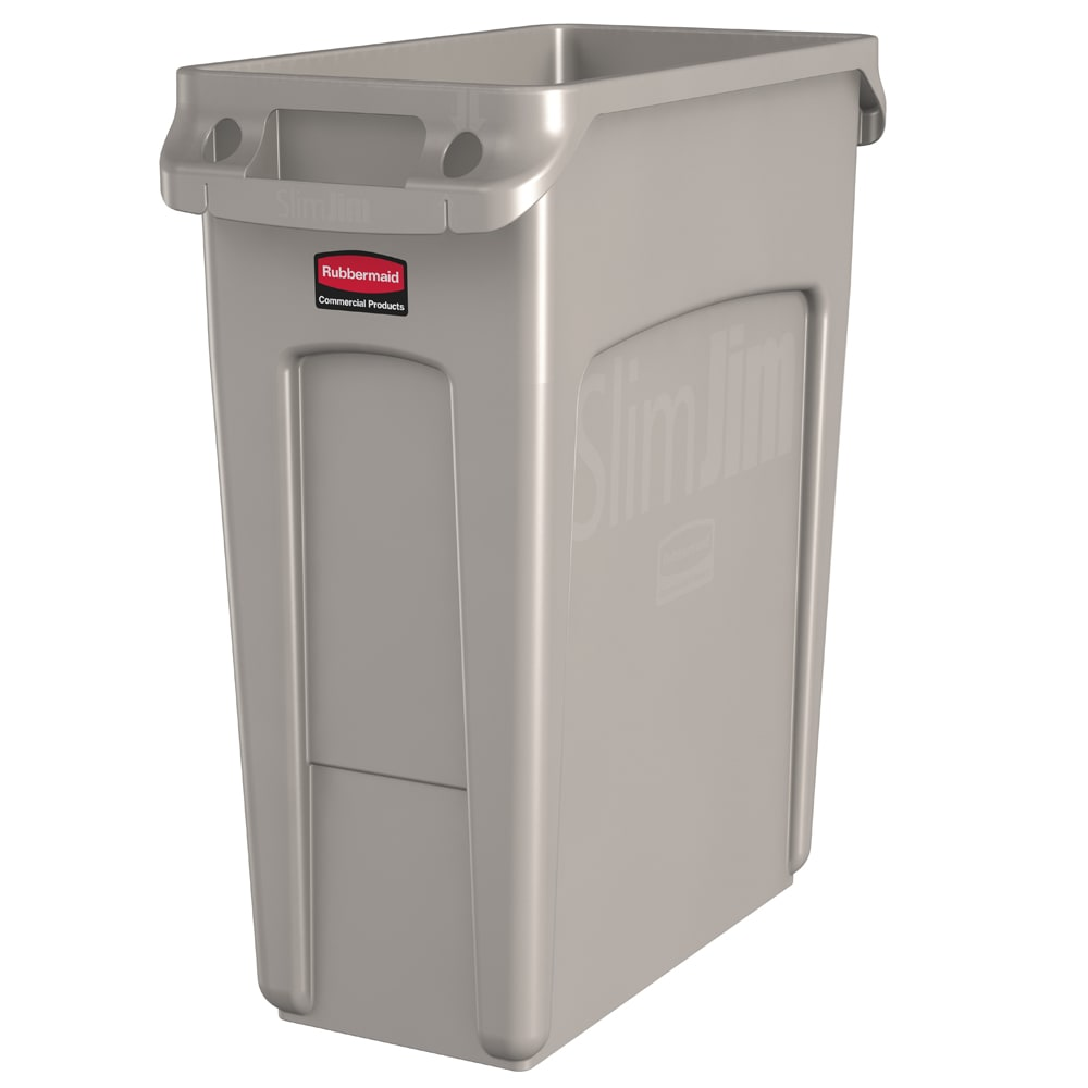 "Rubbermaid 1971259 16 gal Rectangle Slim Trash Can, 22""L x 11""W x 25""H, Beige"