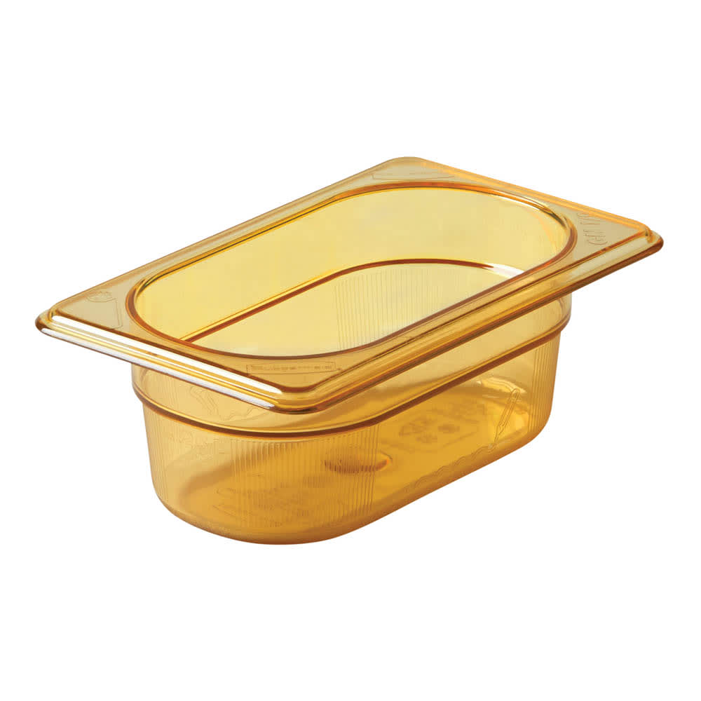 "Rubbermaid FG200P00AMBR Hot Food Pan - 1/9 Size, 2-1/2"" Deep, Poly, Amber"