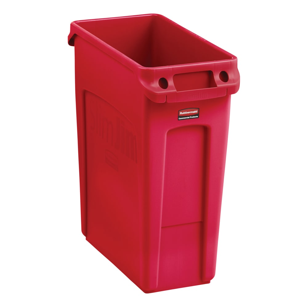 rubbermaid 2018370 16 gal rectangle slim trash can 22 l x 11 w x 25 h red. Black Bedroom Furniture Sets. Home Design Ideas