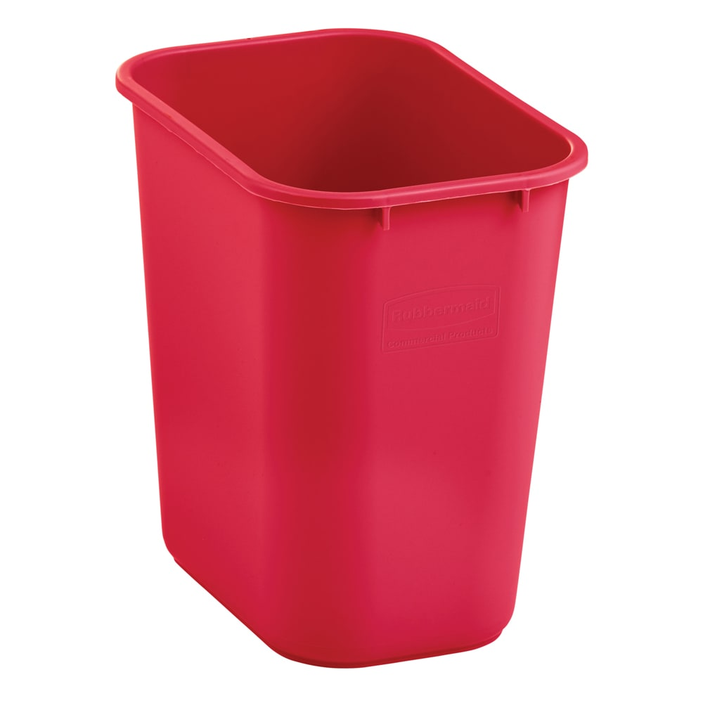 Rubbermaid 2018374 28 qt Rectangle Waste Basket - Plastic, Red