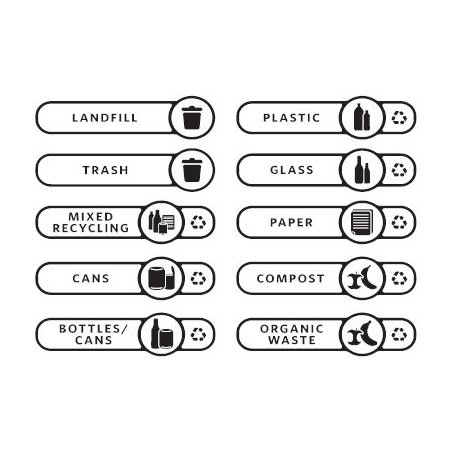 Rubbermaid 2018391 Waste Stream Label Kit for Slim Jim® Vertical Recycling Lids