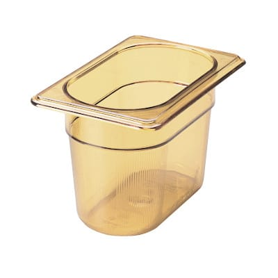 "Rubbermaid FG201P00AMBR Hot Food Pan - 1/9 Size, 4"" Deep, Poly, Amber"