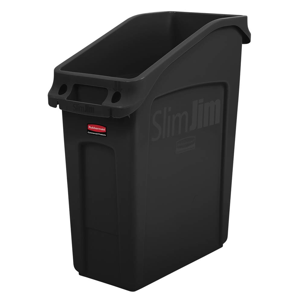 "Rubbermaid 2026696 13 gal Rectangular Slim Jim® Trash Can - 22.25""L x 11.18""W x 26""H, Black"
