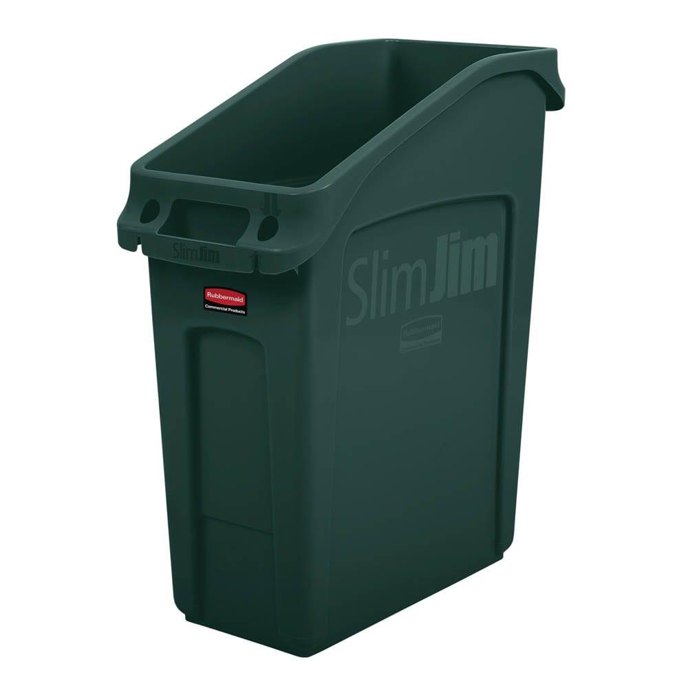 "Rubbermaid 2026700 13 gal Rectangular Slim Jim® Trash Can - 22.25""L x 11.18""W x 26""H, Green"