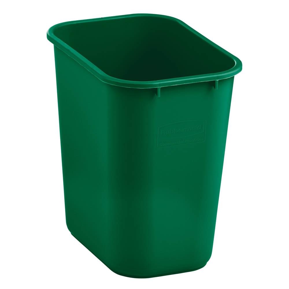 Rubbermaid 2031812 28 qt Rectangle Waste Basket - Plastic, Green