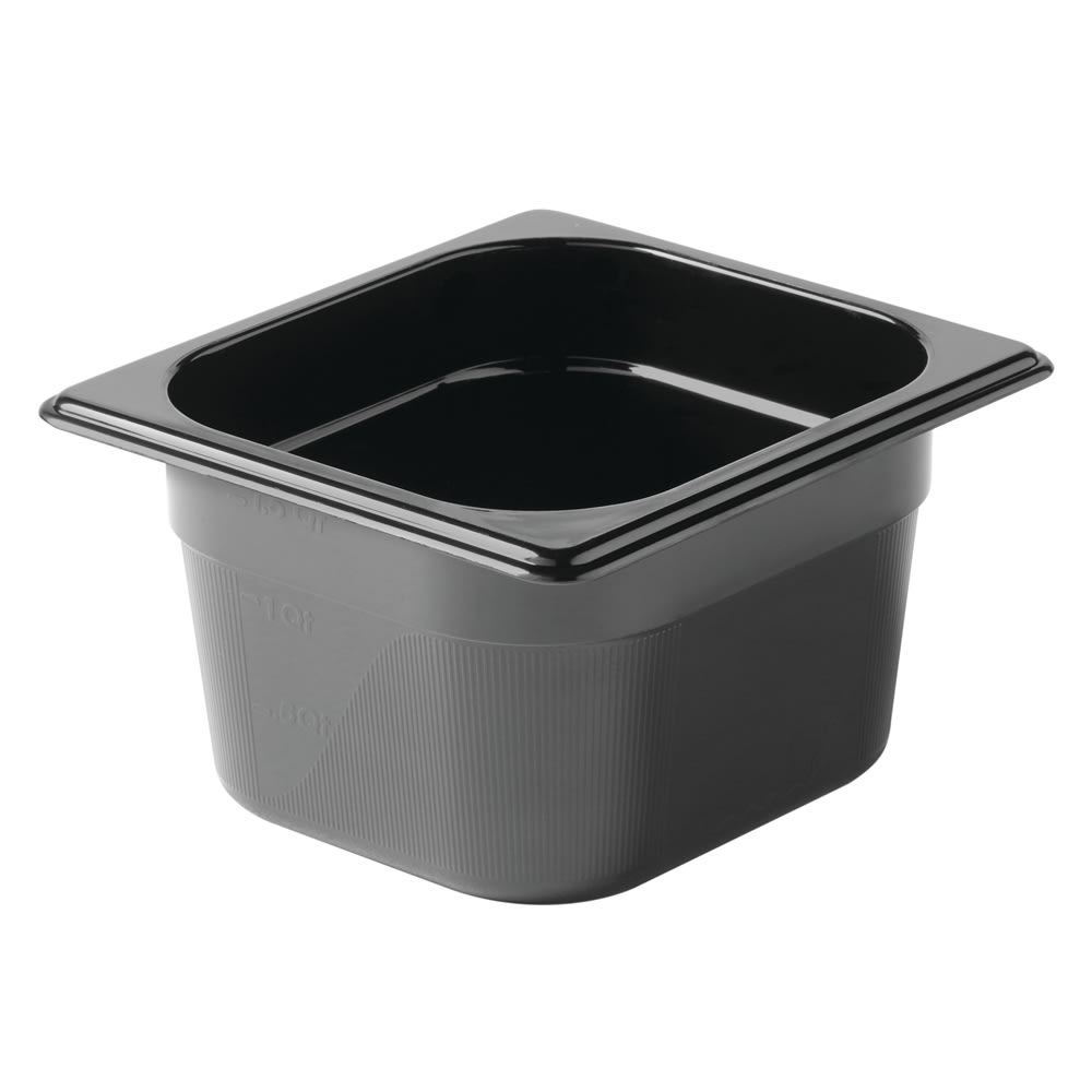 "Rubbermaid FG205P00BLA Hot Food Pan - 1/6 Size, 4"" Deep, Poly, Black"