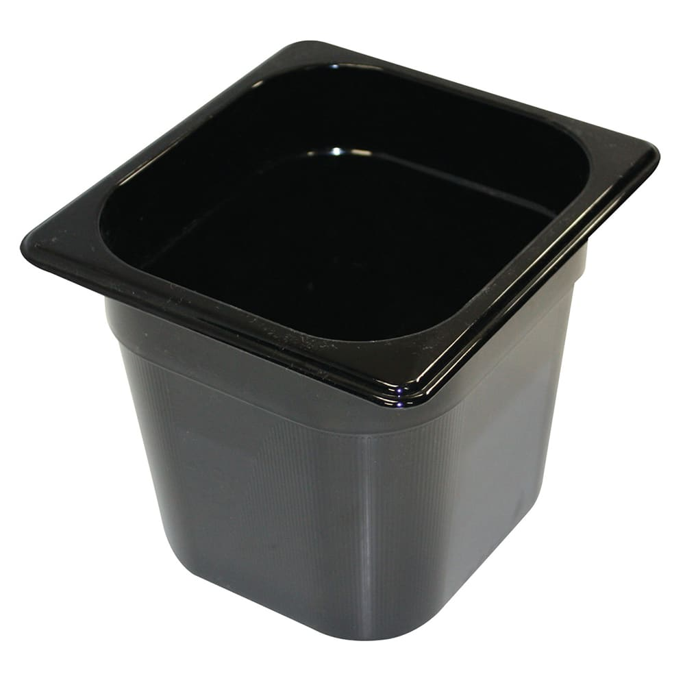 "Rubbermaid FG206P00BLA Hot Food Pan - 1/6 Size, 6"" Deep, Poly, Black"