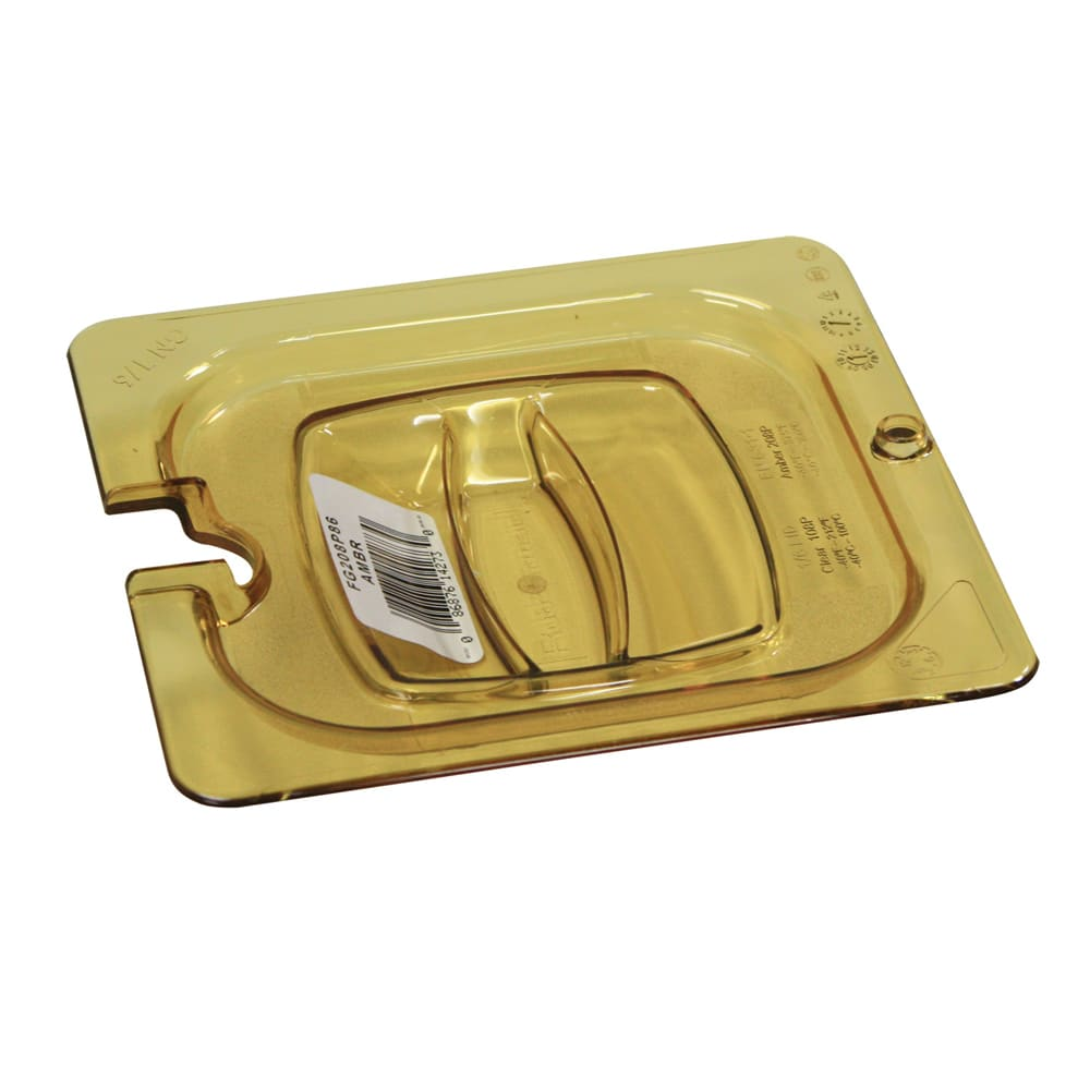 Rubbermaid Fg208p86ambr Hot Food Pan Cover Notched 1 6 Size Amber