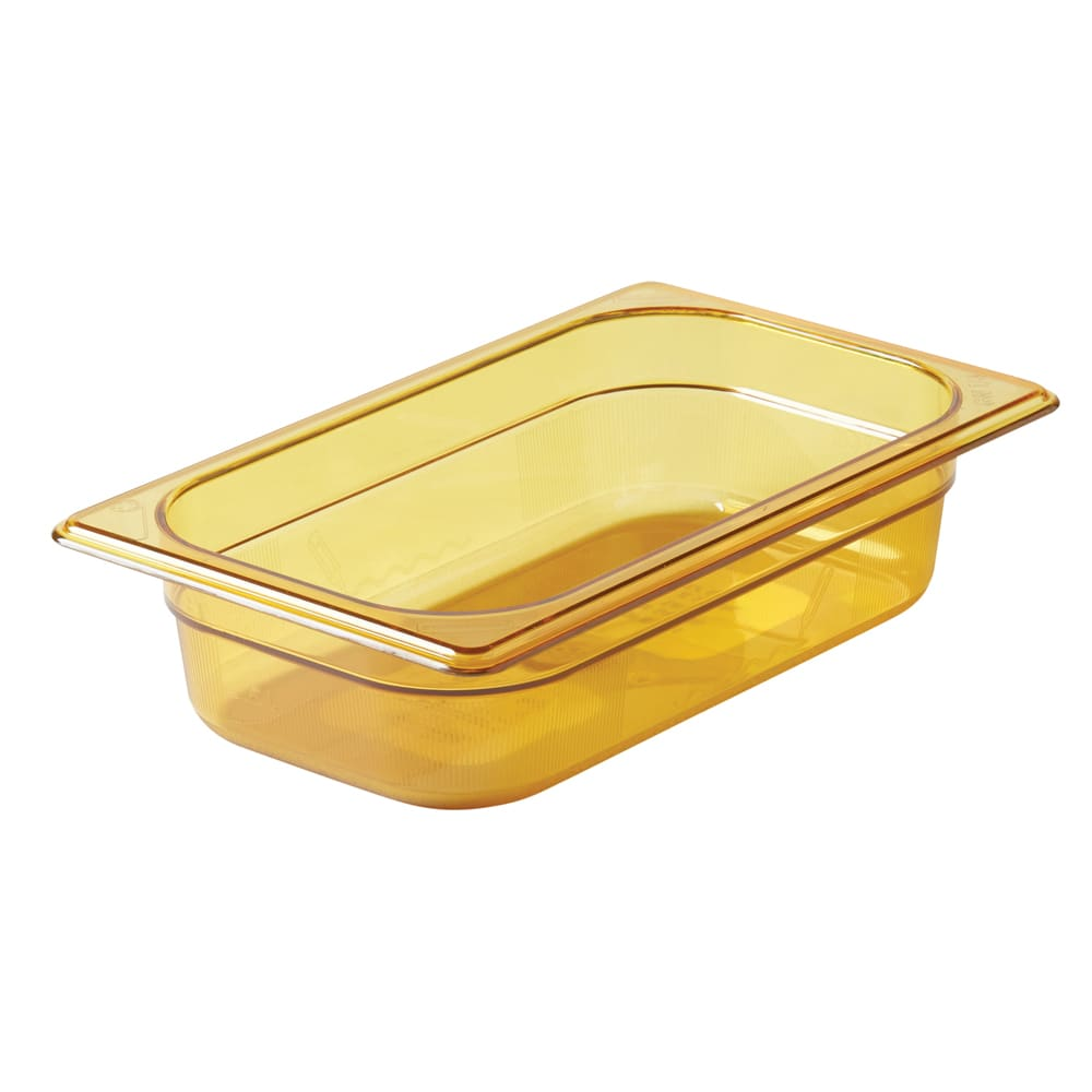 "Rubbermaid FG210P00AMBR Hot Food Pan - 1/4 Size, 2 1/2"" Deep, Poly, Amber"