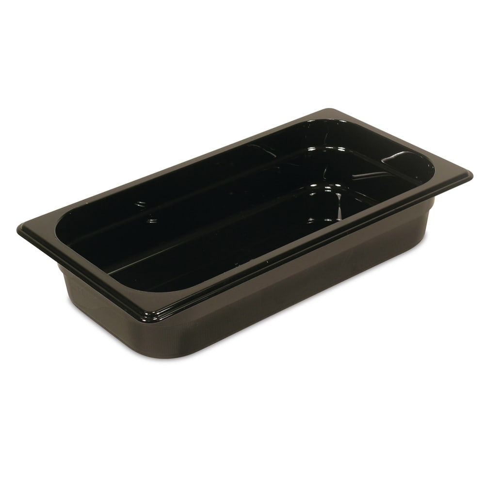 "Rubbermaid FG216P00BLA Hot Food Pan - 1/3 Size, 2 1/2"" Deep, Poly, Black"