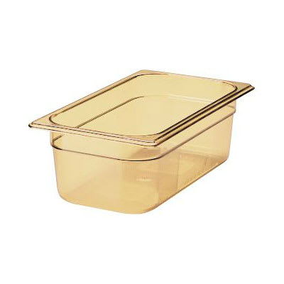 """Rubbermaid FG217P00AMBR Hot Food Pan - 1/3 Size, 4"""" Deep, Poly, Amber"""