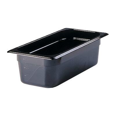 "Rubbermaid FG217P00BLA Hot Food Pan - 1/3 Size, 4"" Deep, Poly, Black"