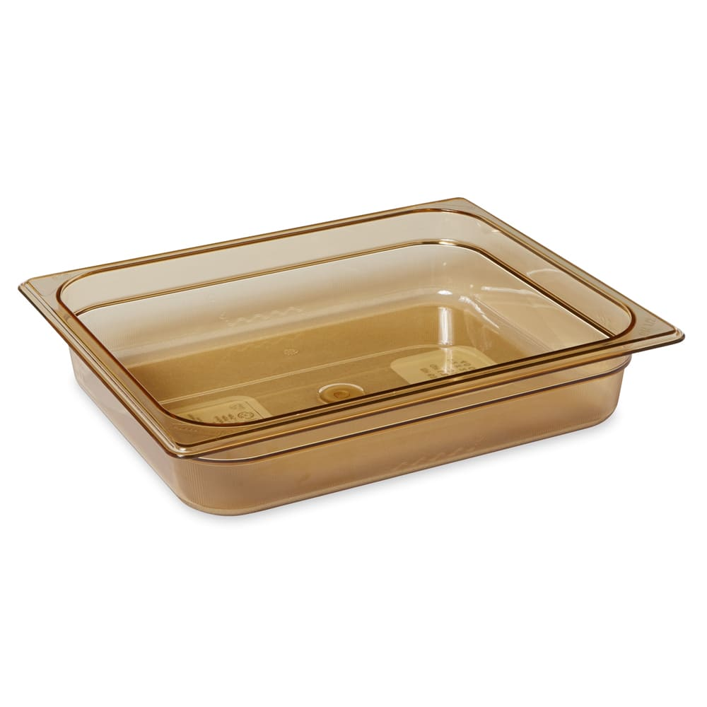 "Rubbermaid FG223P00AMBR Hot Food Pan - Half Size, 2-1/2"" Deep, Poly, Amber"
