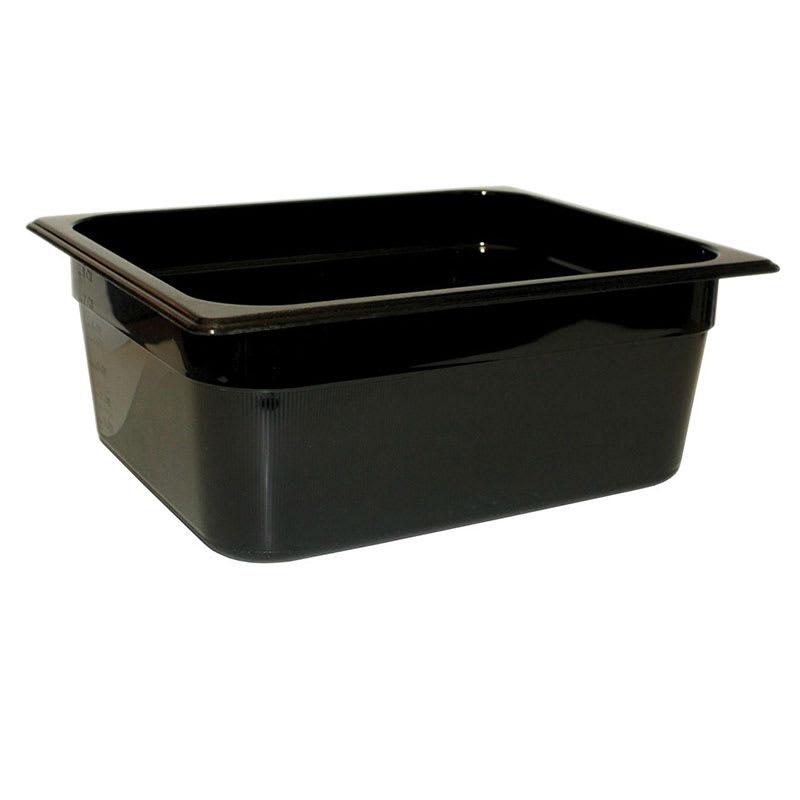 "Rubbermaid FG224P00BLA Hot Food Pan - Half Size, 4"" Deep, Poly, Black"