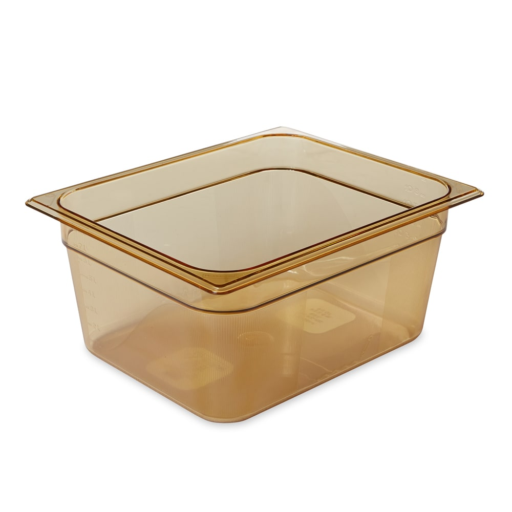 "Rubbermaid FG225P00AMBR Hot Food Pan - Half Size, 6"" Deep, Poly, Amber"