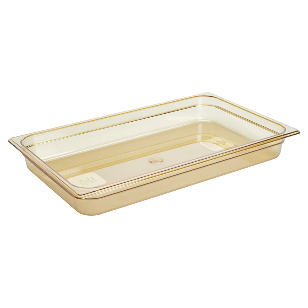 "Rubbermaid FG230P00AMBR Hot Food Pan - Full Size, 2 1/2"" Deep, Poly, Amber"