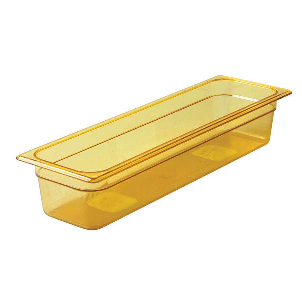 "Rubbermaid FG240P00AMBR Hot Food Pan - Half Size Long, 4"" Deep, Poly, Amber"