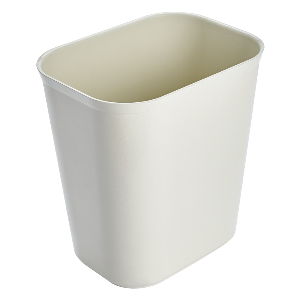 Rubbermaid FG254100BEIG 14-qt Rectangle Waste Basket - Plastic, Beige