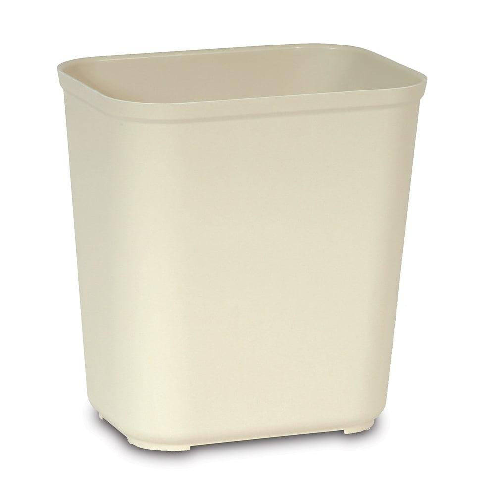 Rubbermaid FG254300BEIG 28-qt Rectangle Waste Basket - Plastic, Beige