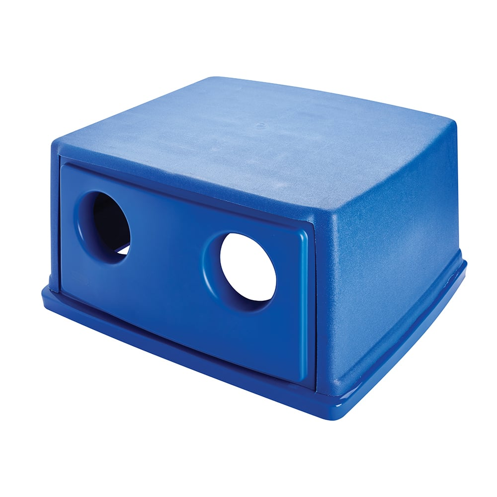 Rubbermaid FG256L00DBLUE Square Recycling Trash Can Lid - Plastic, Dark Blue