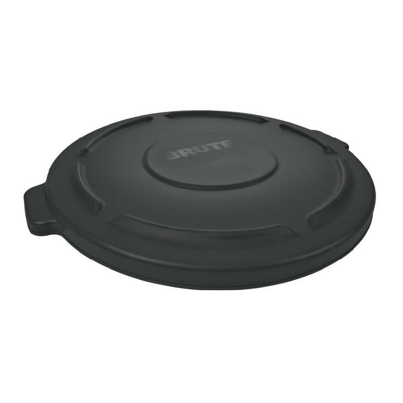 Rubbermaid FG261960BLA Round Flat Top Trash Can Lid - Plastic, Black