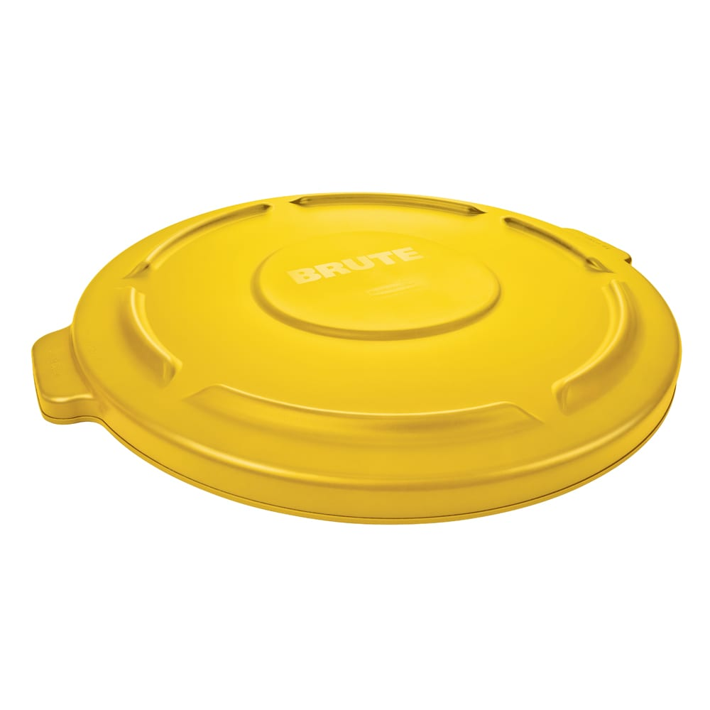 Rubbermaid FG261960YEL Round Flat Top Trash Can Lid - Plastic, Yellow