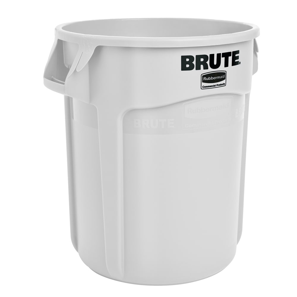 Rubbermaid FG262000WHT 20-gallon Brute Trash Can - Plastic, Round, Food Rated