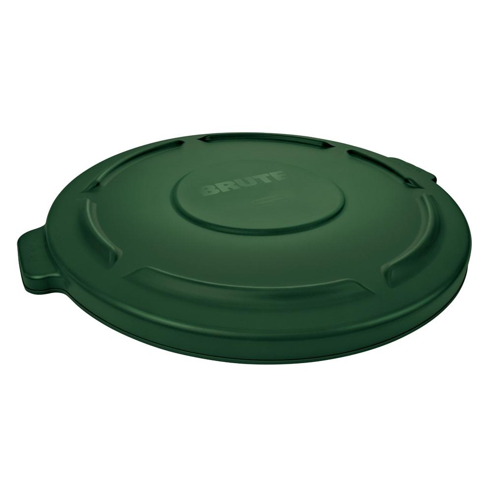 Rubbermaid FG263100DGRN Round Flat Top Trash Can Lid - Plastic, Dark Green
