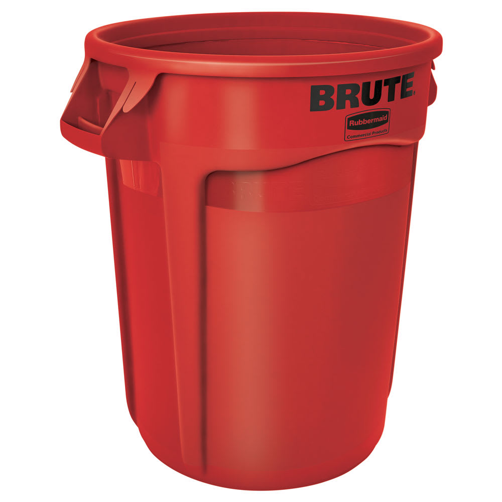 Rubbermaid FG263200RED 32 gallon Brute Trash Can - Plastic, Round, Food Rated