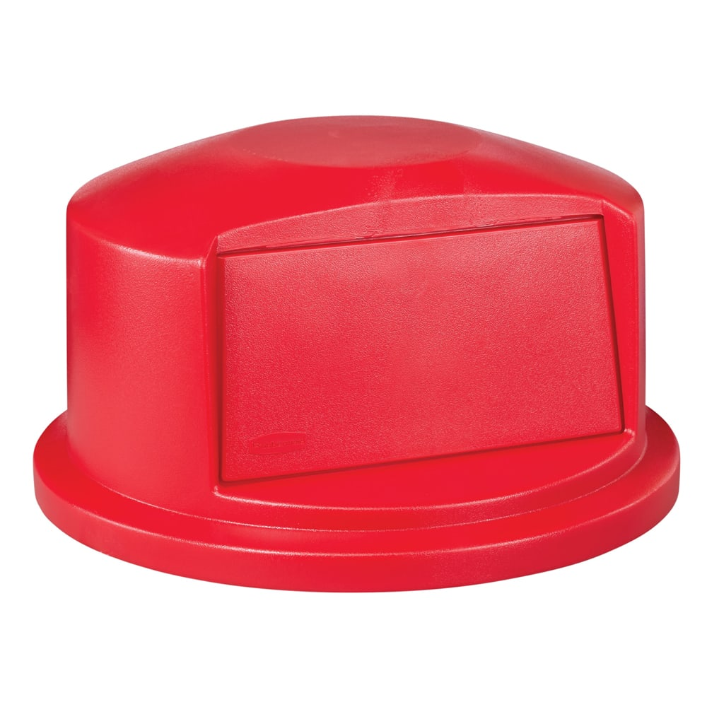 Rubbermaid FG263788RED Round Dome Trash Can Lid - Plastic, Red
